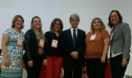 Convite para participação da Udesc foi feito à pró-reitora  de Ensino, Soraia Luz (seg. da esq. para dir.)