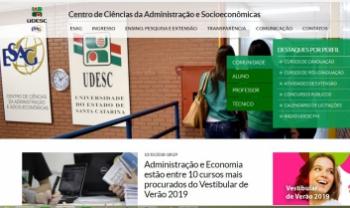 Novo site da Udesc Esag tem acesso facilitado às informações dos setores e das atividades do centro Imagem: Reprodução