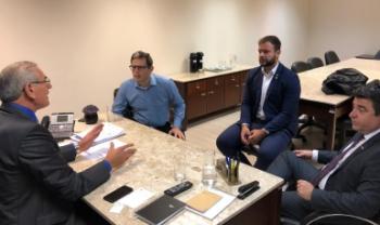 Reunião com o deputado Sílvio Dreveck, o vice-reitor Leandro Zvirtes, o diretor-geral da Udesc Esag, Éverton Cancellier, e o vereador Pedro Silvestre