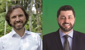 Emerson Campos (chapa 10) e Dilmar Baretta (chapa 20), candidatos a reitor da Udesc