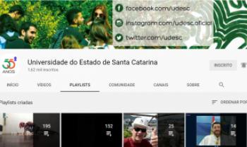 Canal da Udesc tem quase 1,5 mil pessoas inscritas e aproximadamente 600 vídeos - Imagem: Reprodução