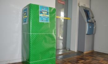 Ponto de coleta foi posicionado no hall de entrada do prédio da Administração- Foto: Tatiane Rosa/Ascom