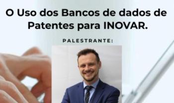 Descrição da imagem: Banner do evento: O Uso dos Bancos de dados de Patentes para inovar. Ao centro, foto do palestrante Tiago Pisetta, diretor comercial da Cerumar. Inscrições: udesc.br/inovação. Data: 28/09; horário: 14 horas. Abaixo logos da Udesc e Fapesc. Fim da descrição.