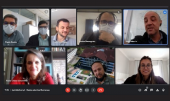 Reunião por videoconferência da equipe do projeto, com integrantes da Udesc Esag, Prefeitura de Blumenau e #Act4Delivery